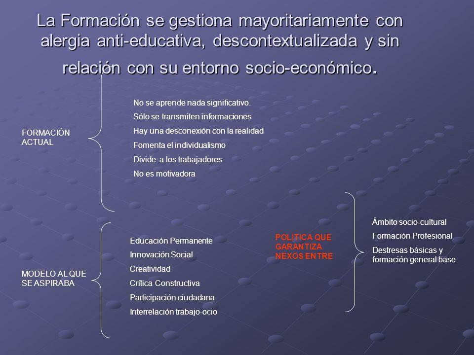 La Formación se gestiona mayoritariamente con alergia anti-educativa, descontextualizada y sin relación con su entorno socio-económico. FORMACIÓN ACTU