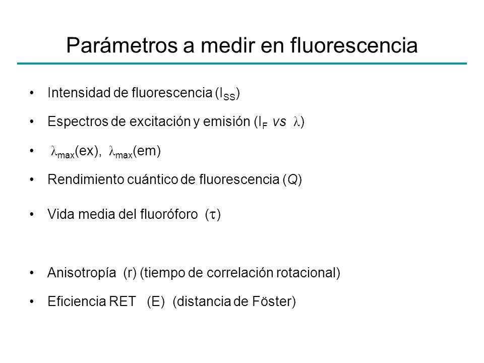 Parámetros a medir en fluorescencia Intensidad de fluorescencia (I SS ) Espectros de excitación y emisión (I F vs λ ) λ max (ex), λ max (em) Rendimien