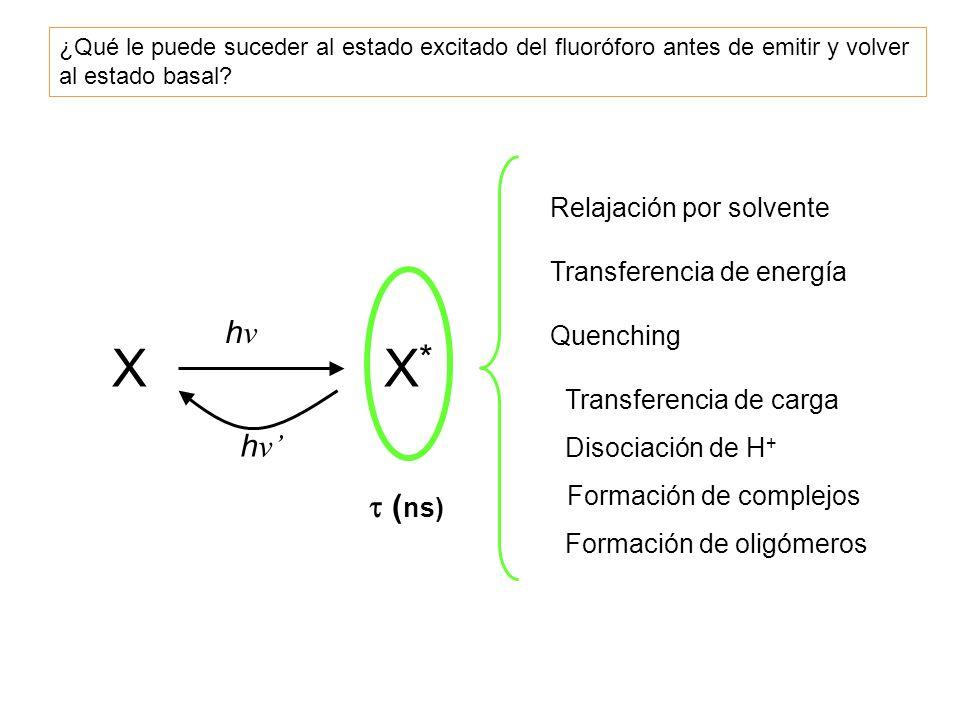 XX*X* hνhν h ν Relajación por solvente Transferencia de energía Quenching Transferencia de carga Disociación de H + Formación de complejos Formación d