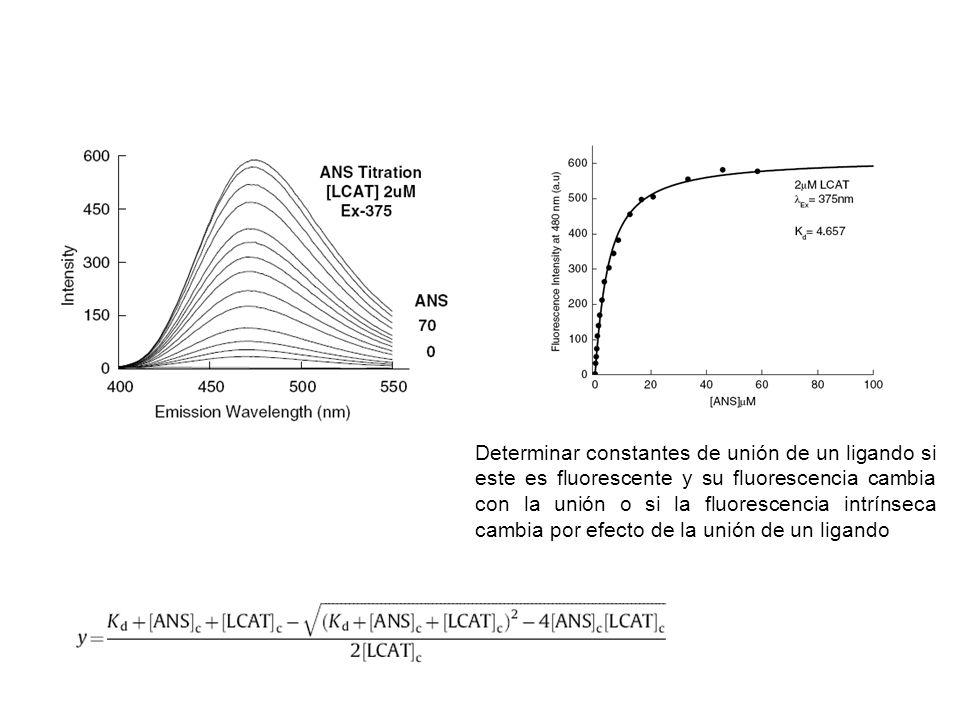 Determinar constantes de unión de un ligando si este es fluorescente y su fluorescencia cambia con la unión o si la fluorescencia intrínseca cambia po