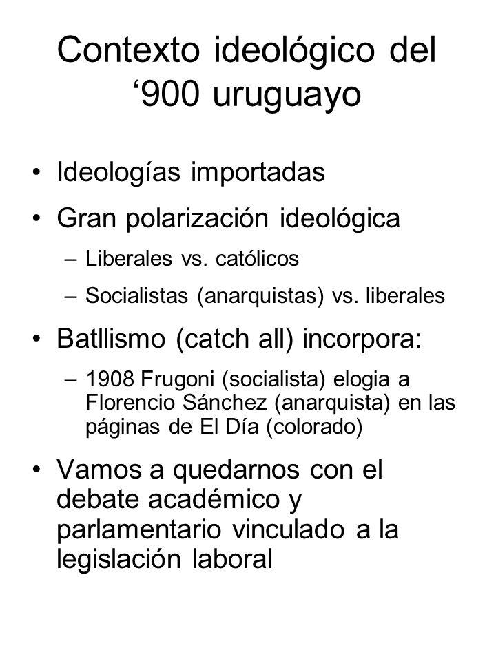 Contexto ideológico del 900 uruguayo Ideologías importadas Gran polarización ideológica –Liberales vs. católicos –Socialistas (anarquistas) vs. libera