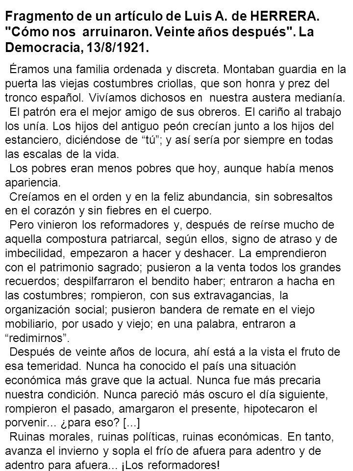 Fragmento de un artículo de Luis A. de HERRERA.