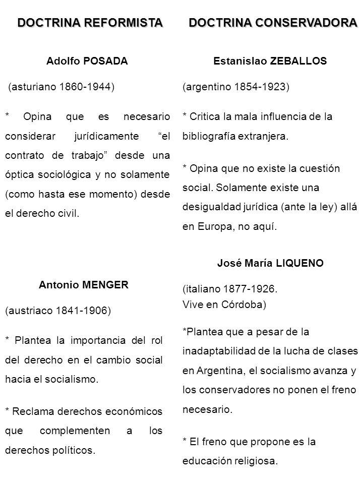 DOCTRINA REFORMISTA Adolfo POSADA (asturiano 1860-1944) * Opina que es necesario considerar jurídicamente el contrato de trabajo desde una óptica soci