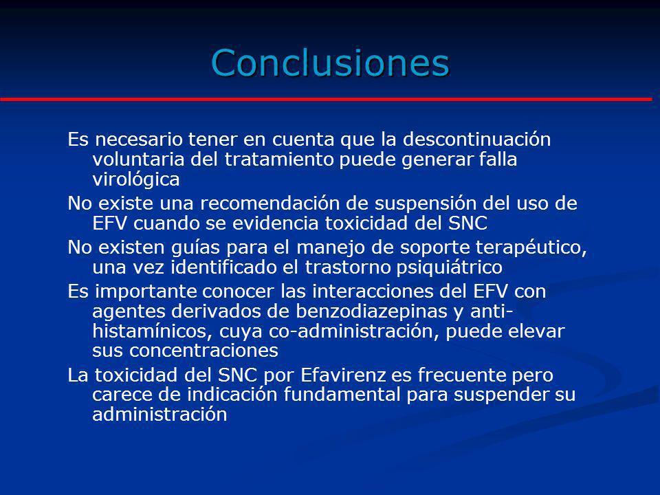 Conclusiones Es necesario tener en cuenta que la descontinuación voluntaria del tratamiento puede generar falla virológica No existe una recomendación