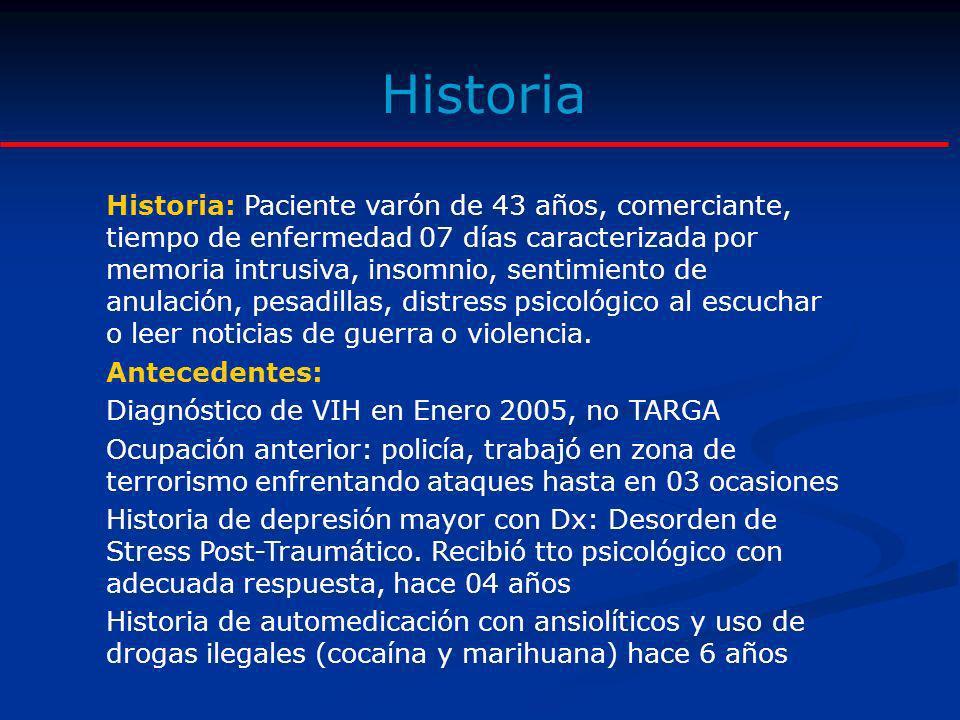Historia Historia: Paciente varón de 43 años, comerciante, tiempo de enfermedad 07 días caracterizada por memoria intrusiva, insomnio, sentimiento de