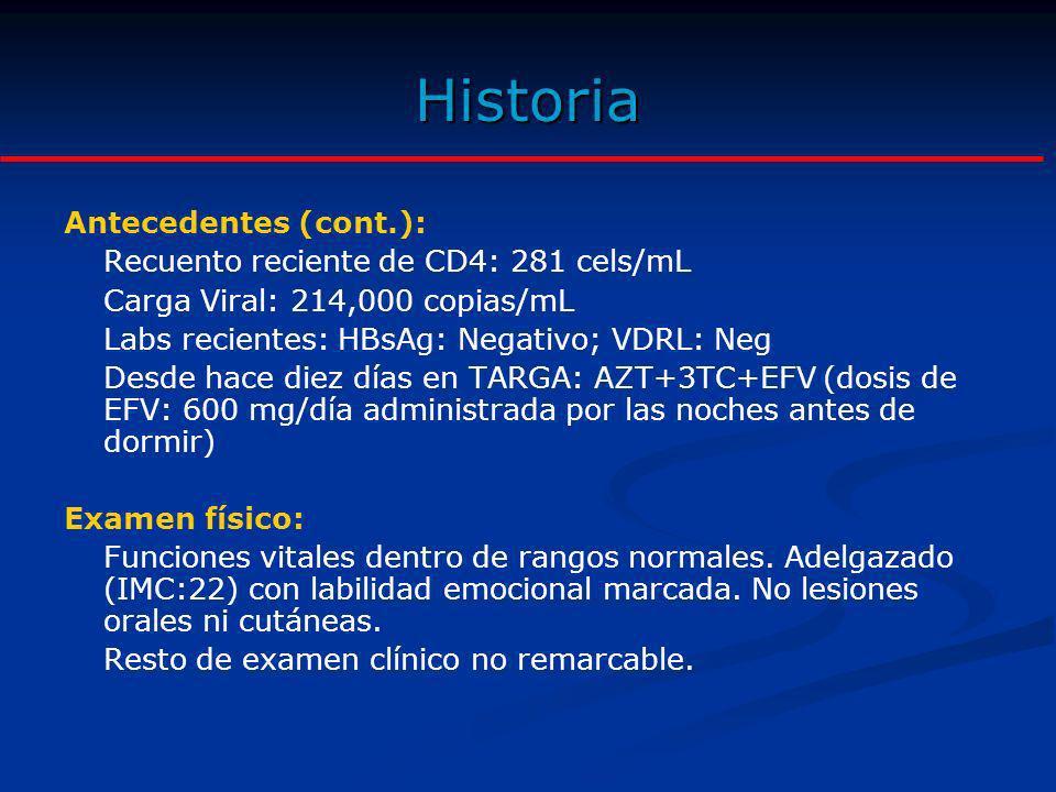 Historia Antecedentes (cont.): Recuento reciente de CD4: 281 cels/mL Carga Viral: 214,000 copias/mL Labs recientes: HBsAg: Negativo; VDRL: Neg Desde h
