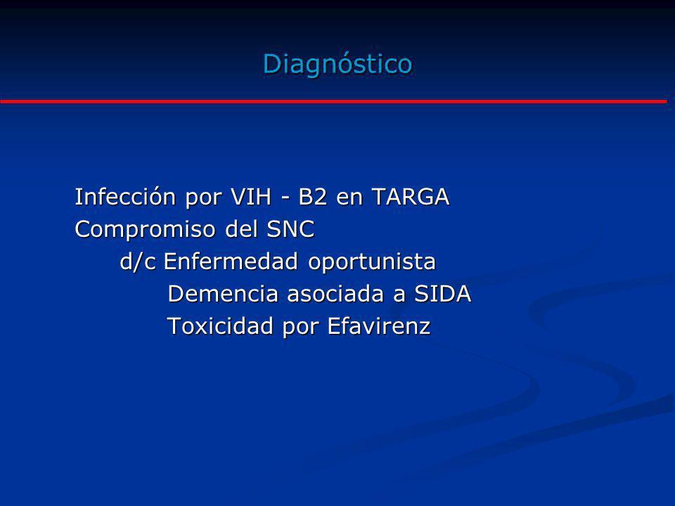 Diagnóstico Infección por VIH - B2 en TARGA Compromiso del SNC d/c Enfermedad oportunista Demencia asociada a SIDA Demencia asociada a SIDA Toxicidad