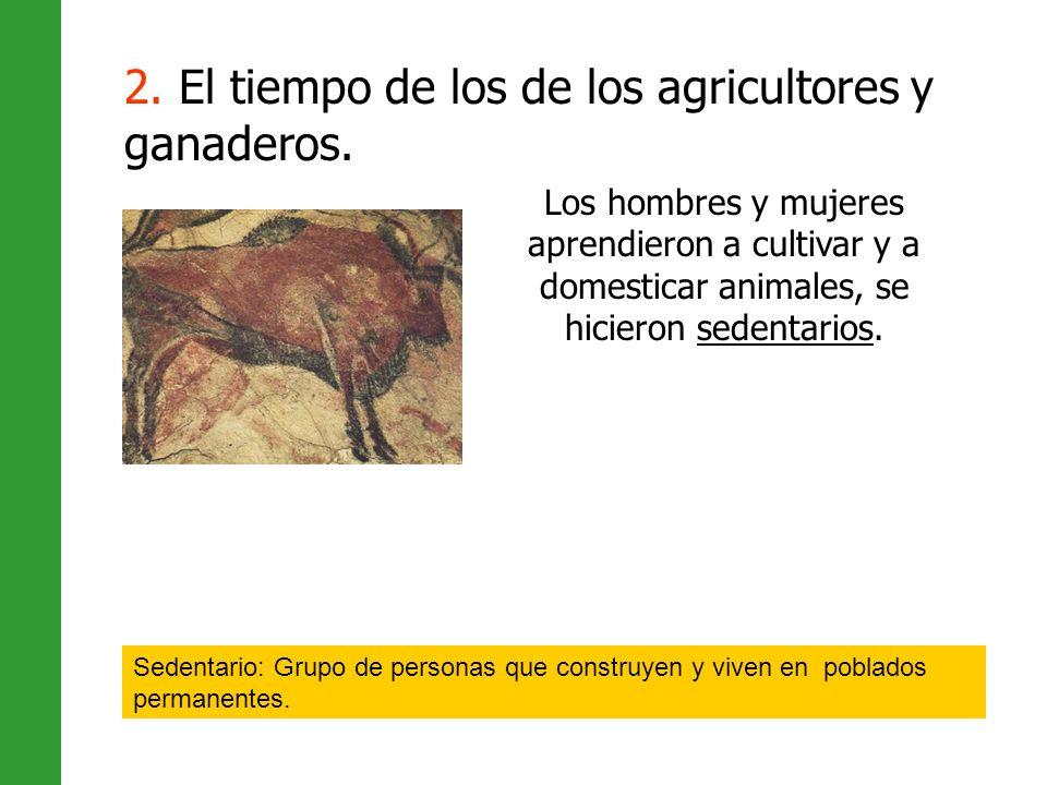 Los hombres y mujeres aprendieron a cultivar y a domesticar animales, se hicieron sedentarios. Sedentario: Grupo de personas que construyen y viven en