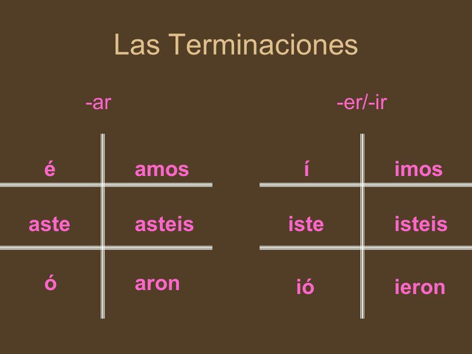 Las Terminaciones -ar-er/-ir é aste ó amos asteis aron í iste ió imos isteis ieron