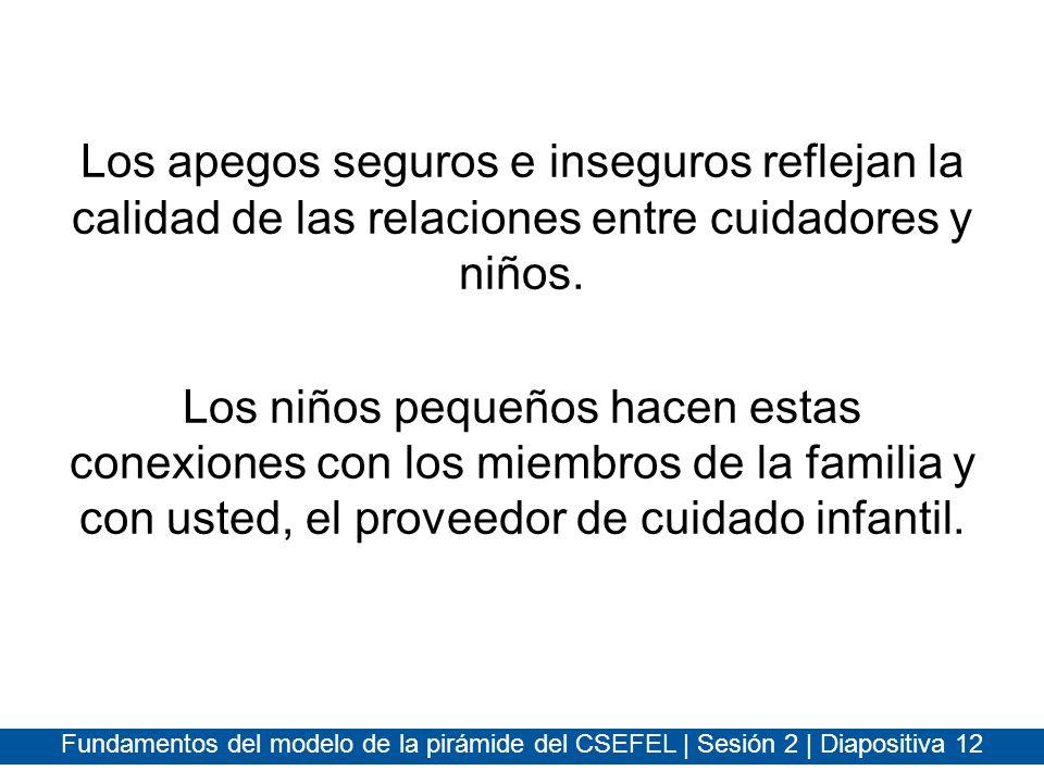 Fundamentos del modelo de la pirámide del CSEFEL | Sesión 2 | Diapositiva 12 Los apegos seguros e inseguros reflejan la calidad de las relaciones entr