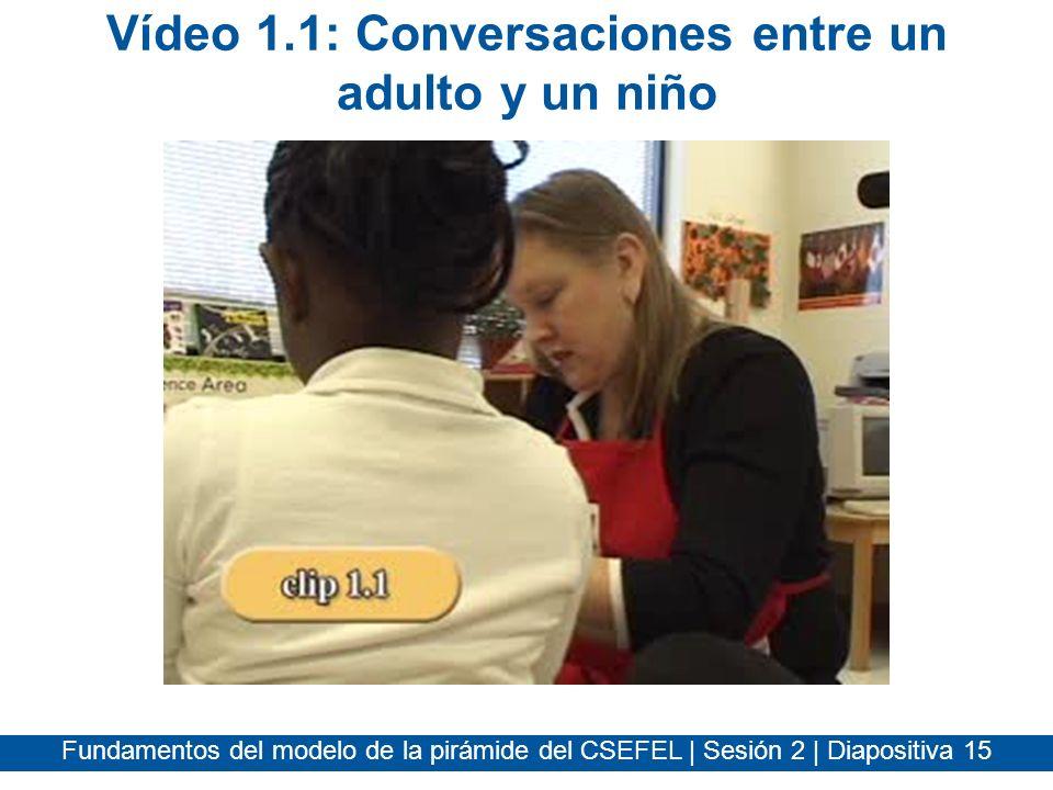 Fundamentos del modelo de la pirámide del CSEFEL | Sesión 2 | Diapositiva 15 Vídeo 1.1: Conversaciones entre un adulto y un niño