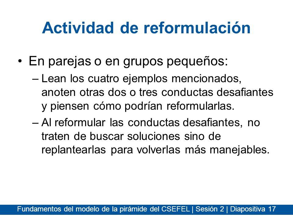 Fundamentos del modelo de la pirámide del CSEFEL | Sesión 2 | Diapositiva 17 Actividad de reformulación En parejas o en grupos pequeños: –Lean los cua