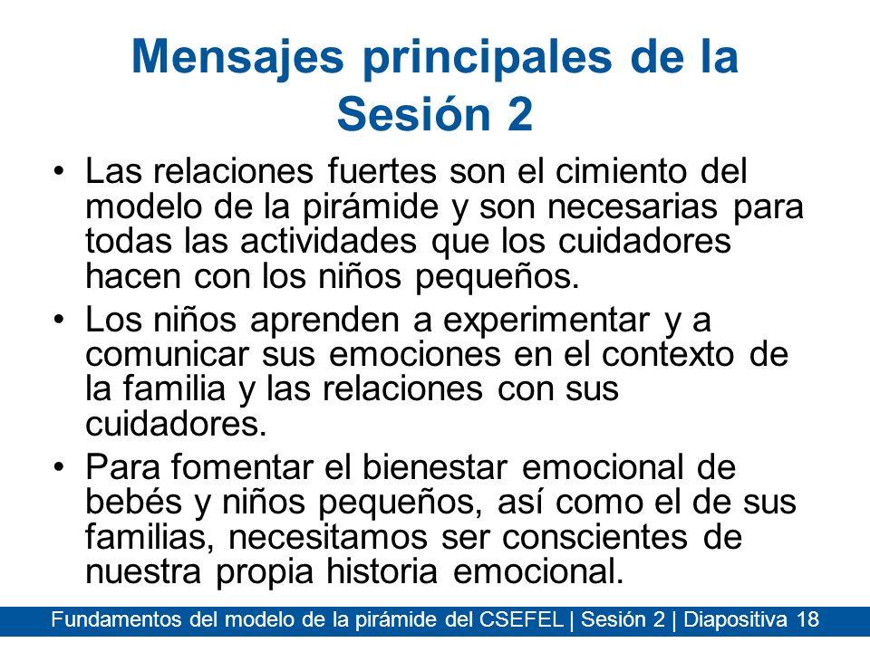 Fundamentos del modelo de la pirámide del CSEFEL | Sesión 2 | Diapositiva 18 Mensajes principales de la Sesión 2 Las relaciones fuertes son el cimient