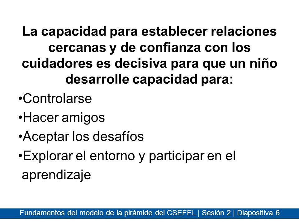Fundamentos del modelo de la pirámide del CSEFEL | Sesión 2 | Diapositiva 7 Las relaciones son diferentes de las interacciones Las relaciones: –Tienen conexiones emocionales –Perduran a través del tiempo –Tienen un significado especial entre las dos personas –Crean recuerdos y expectativas en la mente de las personas involucradas