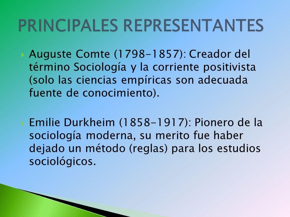 Auguste Comte (1798-1857): Creador del término Sociología y la corriente positivista (solo las ciencias empíricas son adecuada fuente de conocimiento).