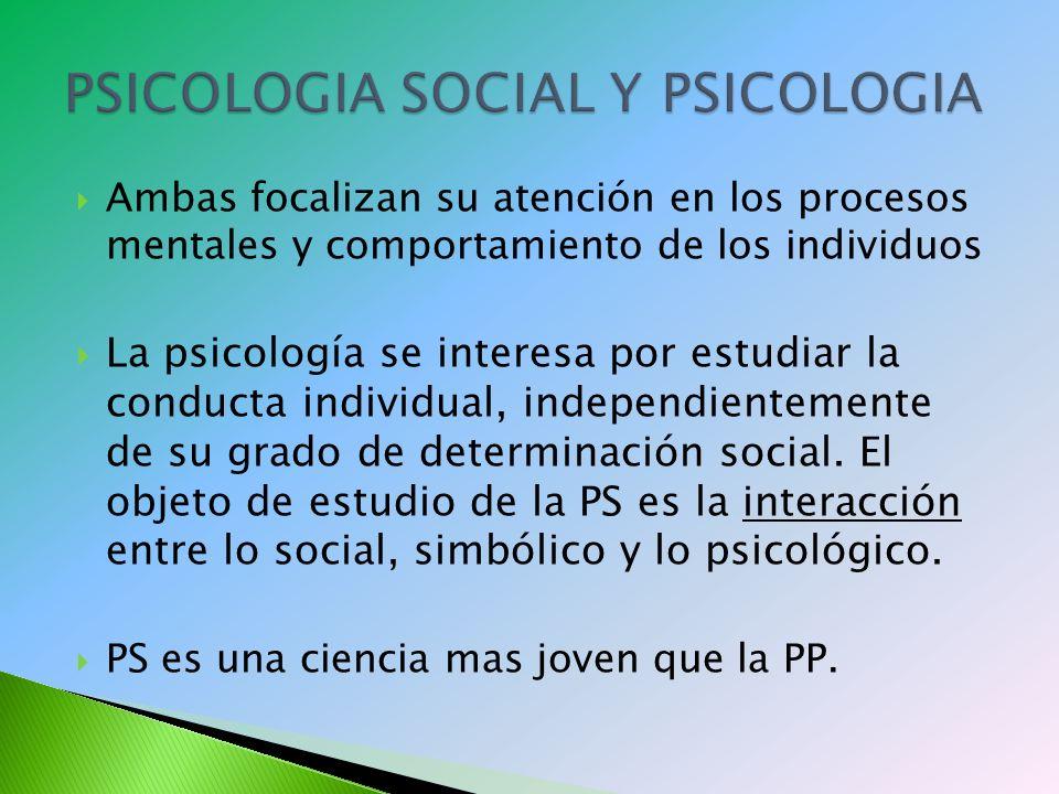 Ambas focalizan su atención en los procesos mentales y comportamiento de los individuos La psicología se interesa por estudiar la conducta individual, independientemente de su grado de determinación social.