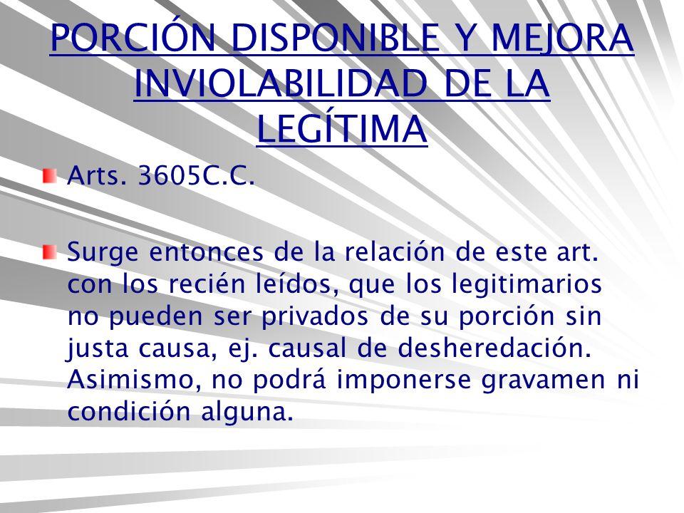 PORCIÓN DISPONIBLE Y MEJORA INVIOLABILIDAD DE LA LEGÍTIMA Arts.