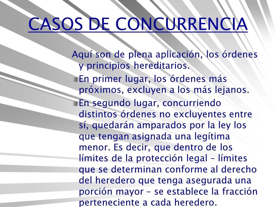 CASOS DE CONCURRENCIA Aquí son de plena aplicación, los órdenes y principios hereditarios.
