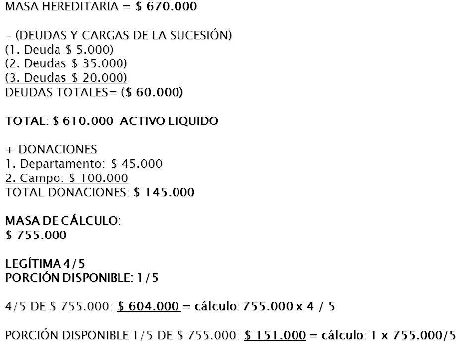 MASA HEREDITARIA = $ 670.000 - (DEUDAS Y CARGAS DE LA SUCESIÓN) (1.