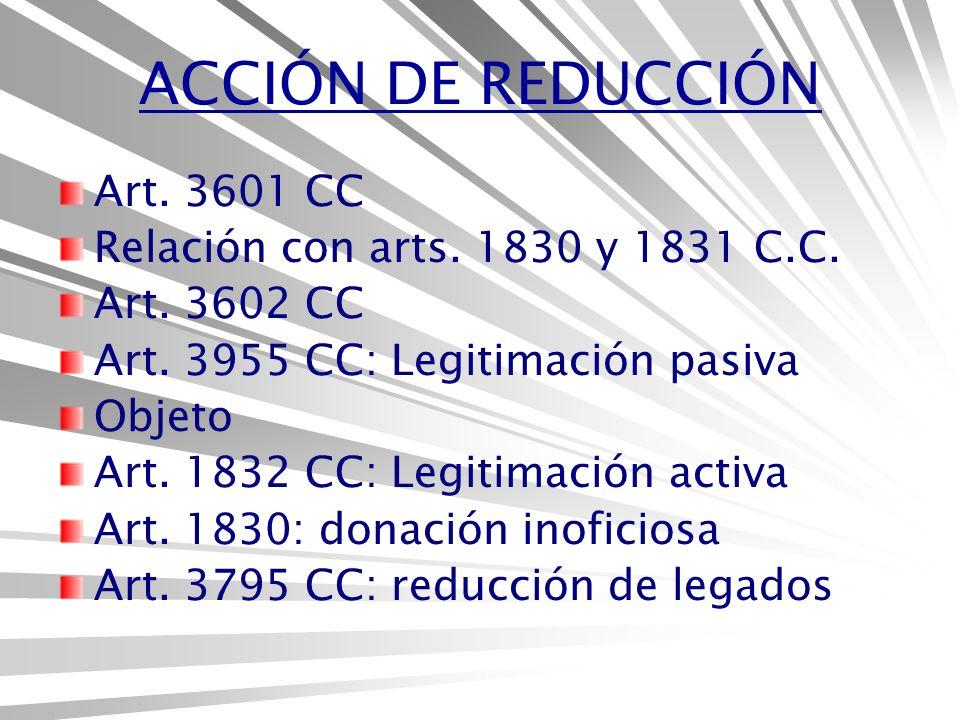 ACCIÓN DE REDUCCIÓN Art.3601 CC Relación con arts.