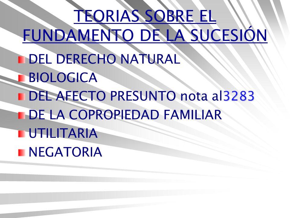 TEORIAS SOBRE EL FUNDAMENTO DE LA SUCESIÓN DEL DERECHO NATURAL BIOLOGICA 3283 DEL AFECTO PRESUNTO nota al3283 DE LA COPROPIEDAD FAMILIAR UTILITARIA NEGATORIA