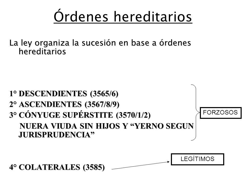 Órdenes hereditarios La ley organiza la sucesión en base a órdenes hereditarios 1° DESCENDIENTES (3565/6) 2° ASCENDIENTES (3567/8/9) 3° CÓNYUGE SUPÉRSTITE (3570/1/2) NUERA VIUDA SIN HIJOS Y YERNO SEGUN JURISPRUDENCIA NUERA VIUDA SIN HIJOS Y YERNO SEGUN JURISPRUDENCIA 4° COLATERALES (3585) FORZOSOS LEGÍTIMOS