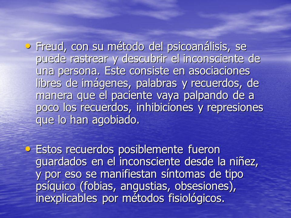 Freud, con su método del psicoanálisis, se puede rastrear y descubrir el inconsciente de una persona. Este consiste en asociaciones libres de imágenes