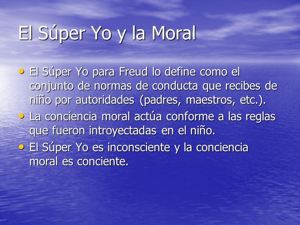 El Súper Yo y la Moral El Súper Yo para Freud lo define como el conjunto de normas de conducta que recibes de niño por autoridades (padres, maestros,