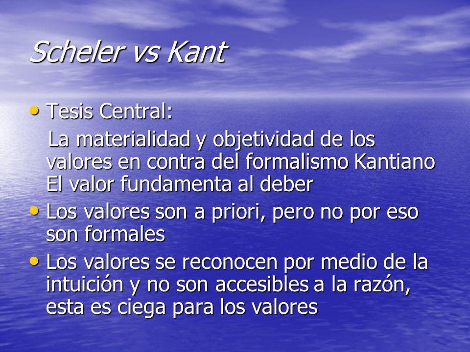 Scheler vs Kant Tesis Central: Tesis Central: La materialidad y objetividad de los valores en contra del formalismo Kantiano El valor fundamenta al de