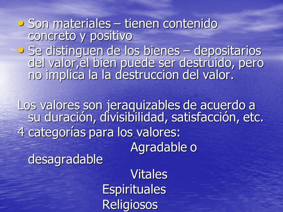 Son materiales – tienen contenido concreto y positivo Son materiales – tienen contenido concreto y positivo Se distinguen de los bienes – depositarios
