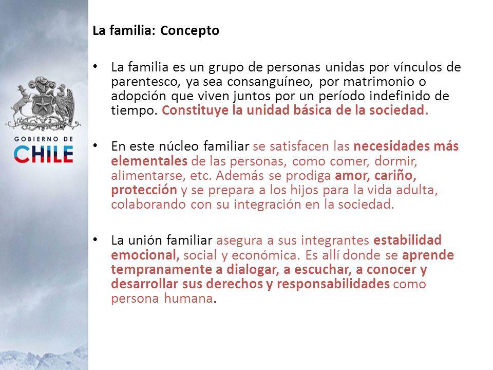 La familia: Concepto La familia es un grupo de personas unidas por vínculos de parentesco, ya sea consanguíneo, por matrimonio o adopción que viven ju