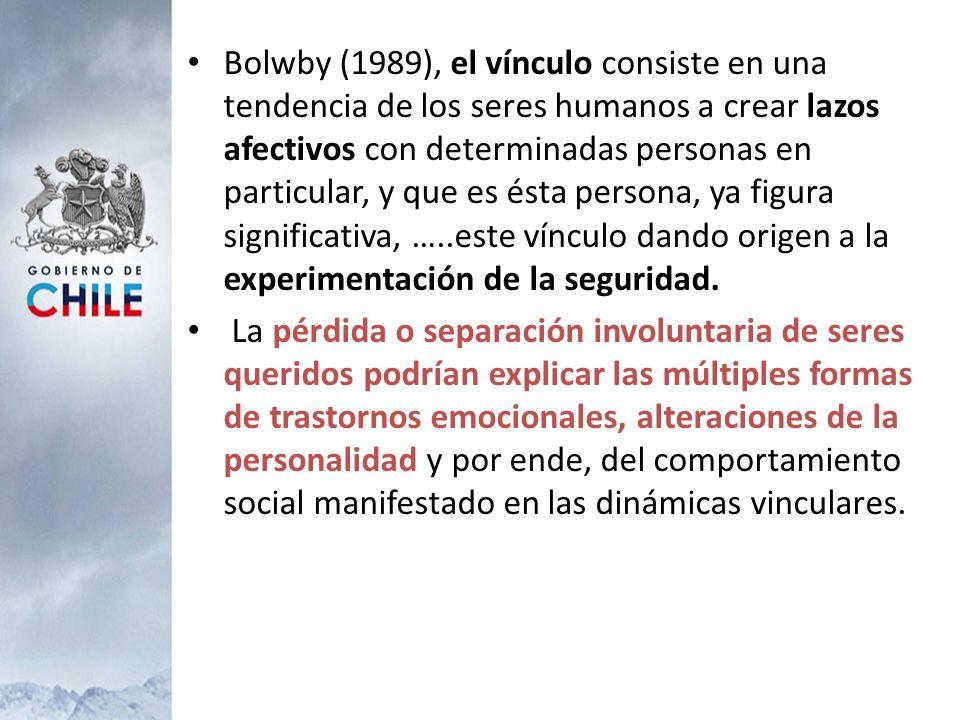 Bolwby (1989), el vínculo consiste en una tendencia de los seres humanos a crear lazos afectivos con determinadas personas en particular, y que es ést