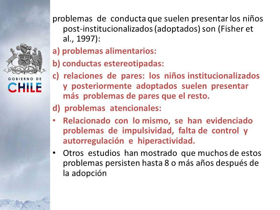 problemas de conducta que suelen presentar los niños post-institucionalizados (adoptados) son (Fisher et al., 1997): a) problemas alimentarios: b) con