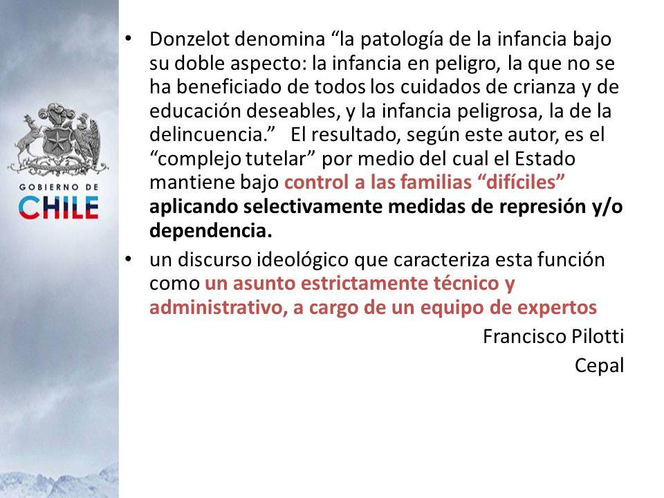 Donzelot denomina la patología de la infancia bajo su doble aspecto: la infancia en peligro, la que no se ha beneficiado de todos los cuidados de cria