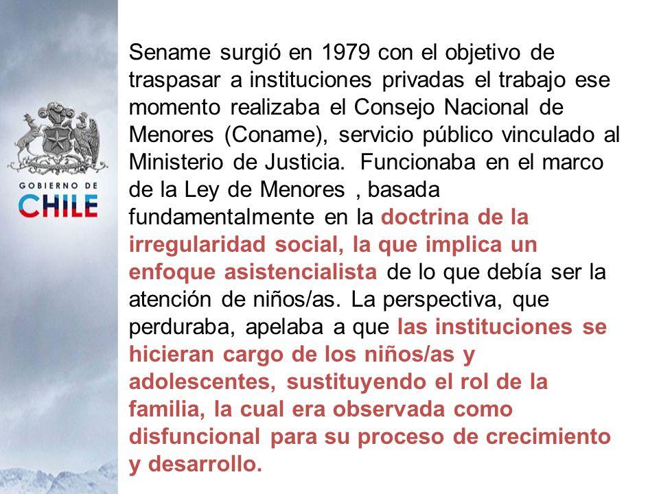 Sename surgió en 1979 con el objetivo de traspasar a instituciones privadas el trabajo ese momento realizaba el Consejo Nacional de Menores (Coname),