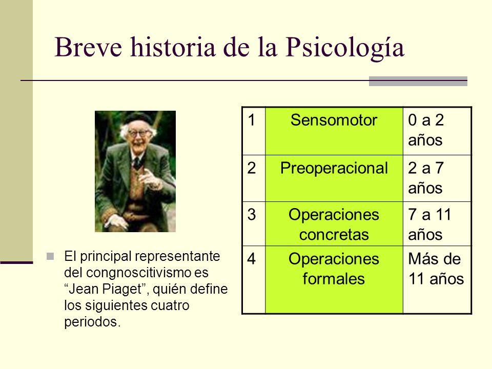 Breve historia de la Psicología El principal representante del congnoscitivismo es Jean Piaget, quién define los siguientes cuatro periodos. 1Sensomot