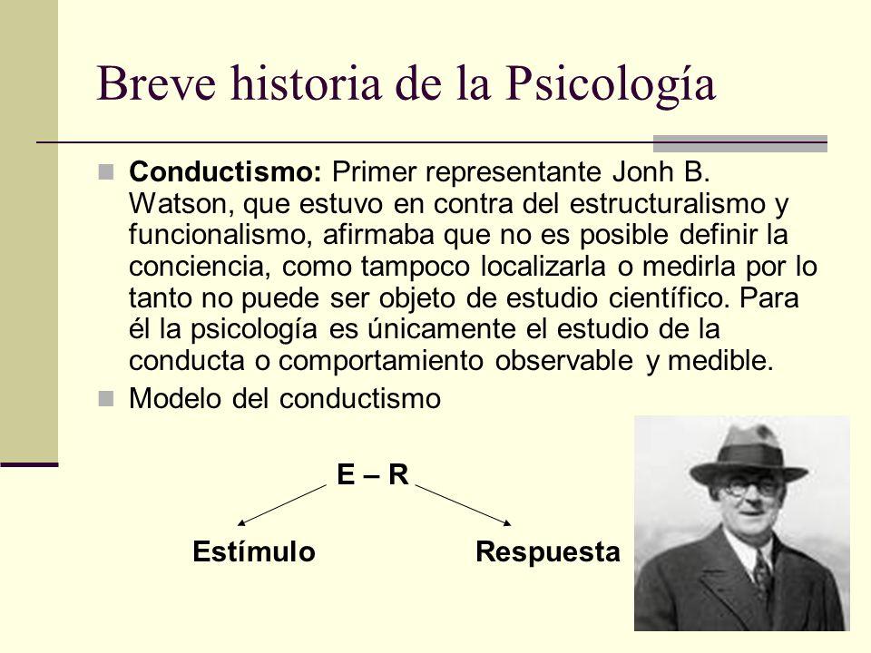Breve historia de la Psicología Conductismo: Primer representante Jonh B. Watson, que estuvo en contra del estructuralismo y funcionalismo, afirmaba q