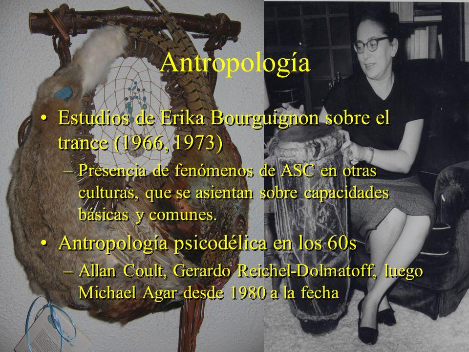Antropología Estudios de Erika Bourguignon sobre el trance (1966, 1973) –Presencia de fenómenos de ASC en otras culturas, que se asientan sobre capacidades básicas y comunes.