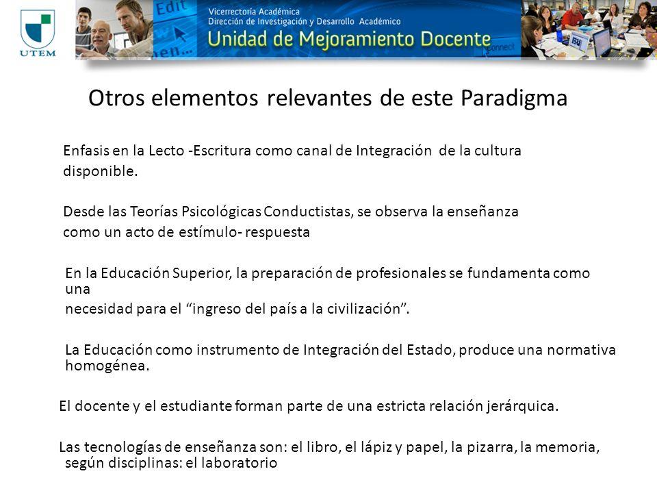Otros elementos relevantes de este Paradigma Enfasis en la Lecto -Escritura como canal de Integración de la cultura disponible. Desde las Teorías Psic