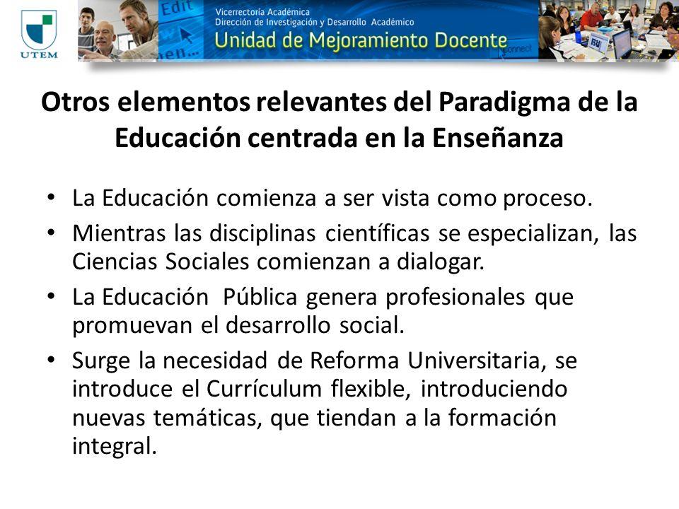 Otros elementos relevantes del Paradigma de la Educación centrada en la Enseñanza La Educación comienza a ser vista como proceso. Mientras las discipl