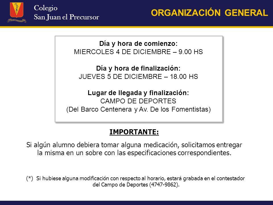 Colegio San Juan el Precursor ORGANIZACIÓN GENERAL Día y hora de comienzo: MIERCOLES 4 DE DICIEMBRE – 9.00 HS Día y hora de finalización: JUEVES 5 DE