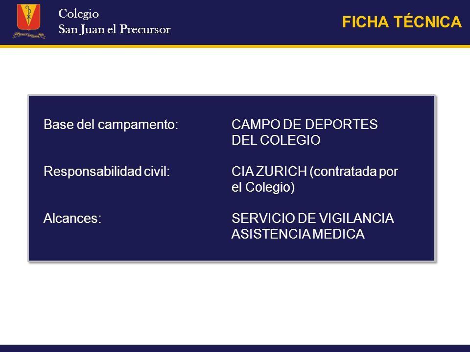 Colegio San Juan el Precursor FICHA TÉCNICA Base del campamento:CAMPO DE DEPORTES DEL COLEGIO Responsabilidad civil: CIA ZURICH (contratada por el Col