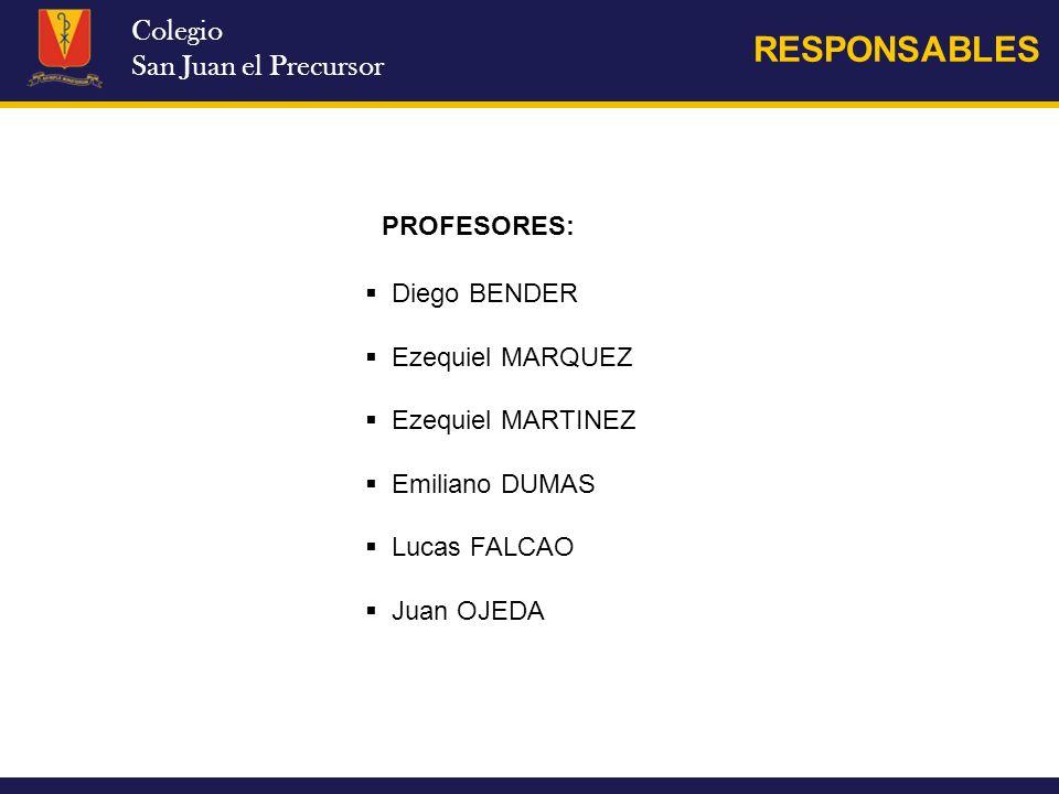 Colegio San Juan el Precursor RESPONSABLES Diego BENDER Ezequiel MARQUEZ Ezequiel MARTINEZ Emiliano DUMAS Lucas FALCAO Juan OJEDA PROFESORES: