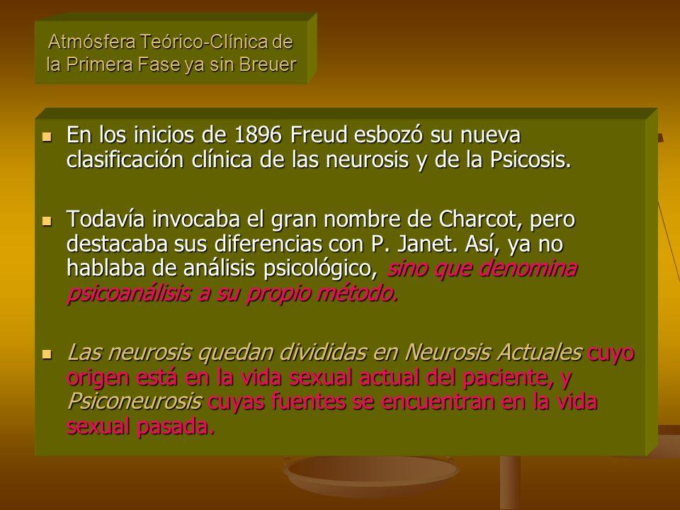 En los inicios de 1896 Freud esbozó su nueva clasificación clínica de las neurosis y de la Psicosis.