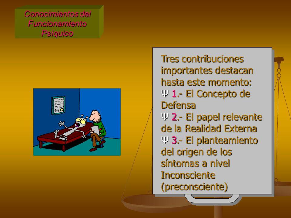Conocimientos del Funcionamiento Psíquico Tres contribuciones importantes destacan hasta este momento: Ψ 1.- El Concepto de Defensa Ψ 2.- El papel relevante de la Realidad Externa Ψ 3.- El planteamiento del origen de los síntomas a nivel Inconsciente (preconsciente) Tres contribuciones importantes destacan hasta este momento: Ψ 1.- El Concepto de Defensa Ψ 2.- El papel relevante de la Realidad Externa Ψ 3.- El planteamiento del origen de los síntomas a nivel Inconsciente (preconsciente)