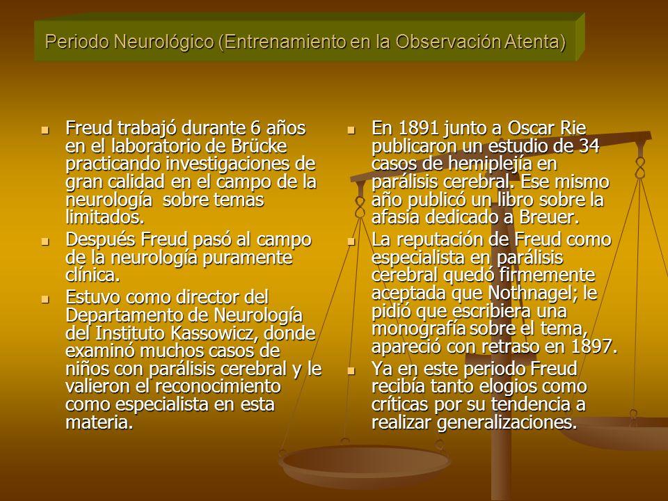 Freud trabajó durante 6 años en el laboratorio de Brücke practicando investigaciones de gran calidad en el campo de la neurología sobre temas limitados.