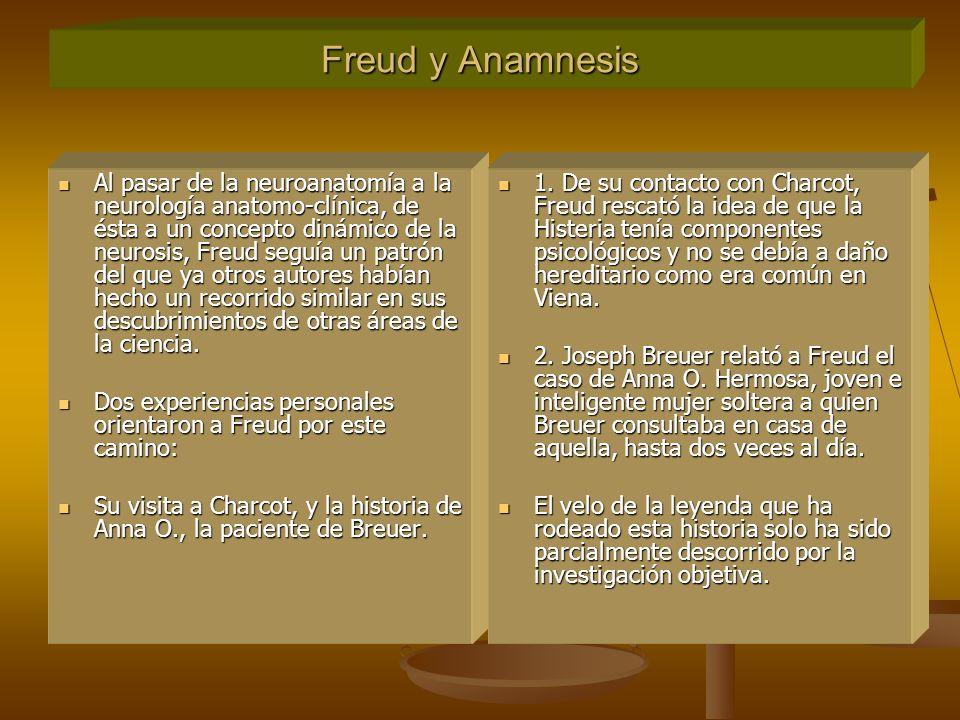 Freud y Anamnesis Al pasar de la neuroanatomía a la neurología anatomo-clínica, de ésta a un concepto dinámico de la neurosis, Freud seguía un patrón del que ya otros autores habían hecho un recorrido similar en sus descubrimientos de otras áreas de la ciencia.