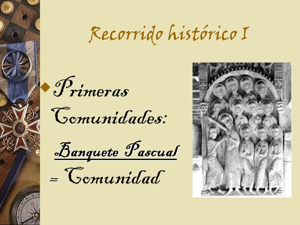 Recorrido histórico I Primeras Comunidades: Banquete Pascual Banquete Pascual = Comunidad