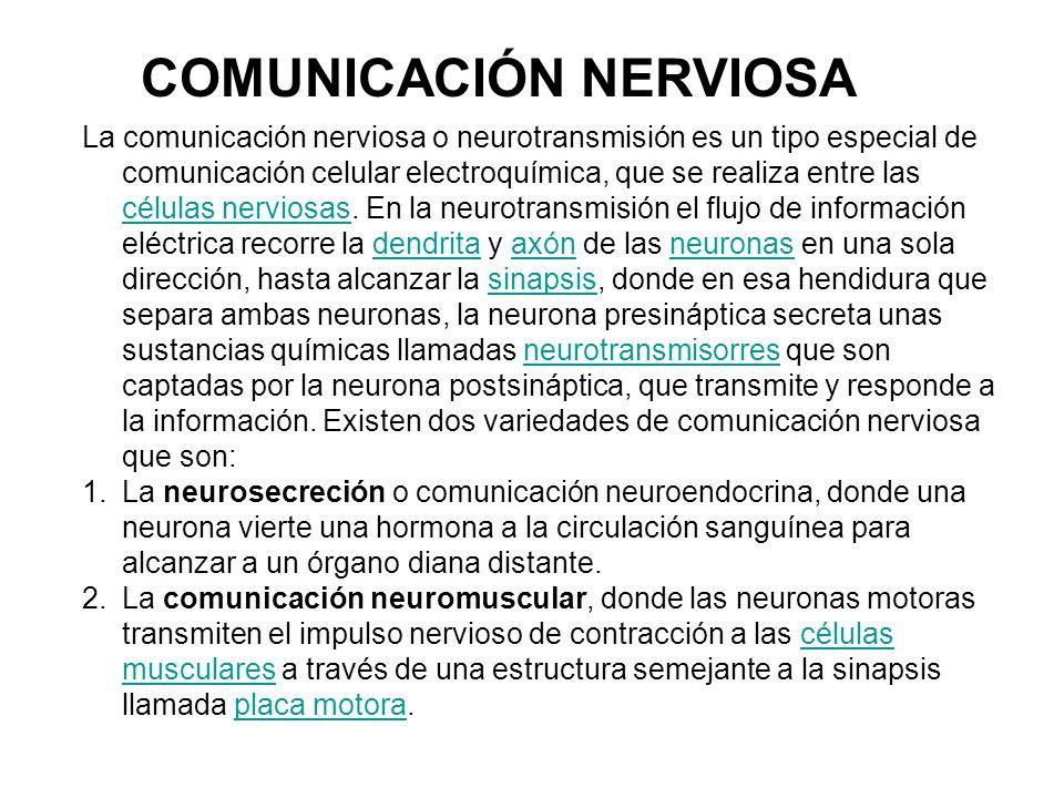 La comunicación nerviosa o neurotransmisión es un tipo especial de comunicación celular electroquímica, que se realiza entre las células nerviosas.