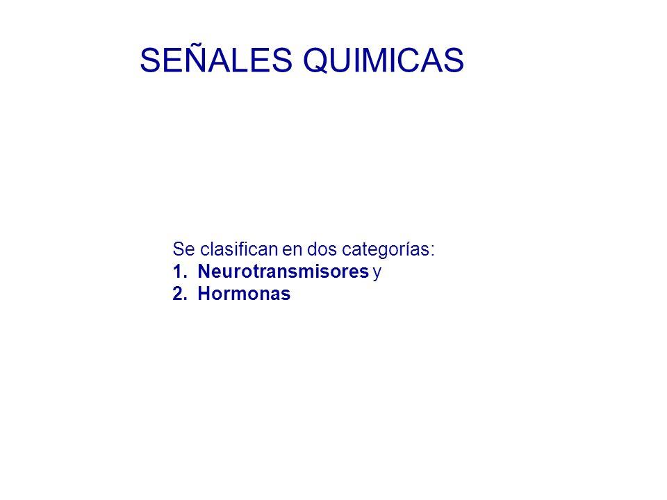 Se clasifican en dos categorías: 1.Neurotransmisores y 2.Hormonas SEÑALES QUIMICAS